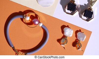 fond, bijouterie, élégant, couleur