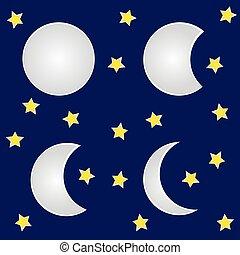 fond blanc, étoiles, lune