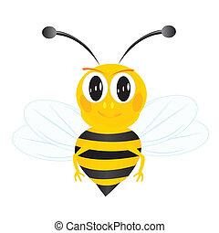 fond blanc, abeille