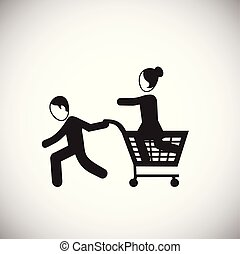 fond, blanc, achats, vente, famille