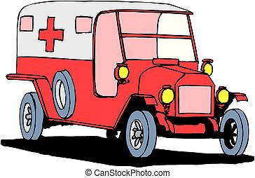 fond blanc, ambulance