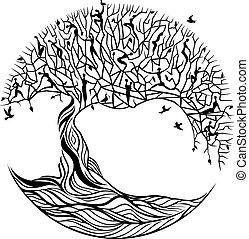 fond blanc, arbre, vie