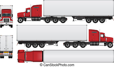 fond, blanc, camion, isolé, semi