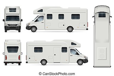 fond, blanc, camping car