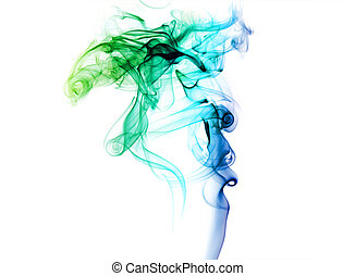 fond blanc, coloré, fumée