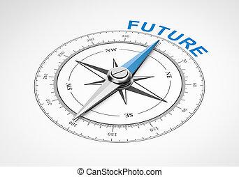 fond, blanc, concept, avenir, compas