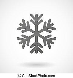 fond blanc, flocon neige, icône