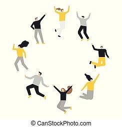 fond, blanc, gens, groupe, sauter, heureux