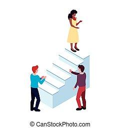 fond, blanc, groupe, gens, escalier
