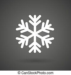 fond blanc, icône, sombre, flocon, neige