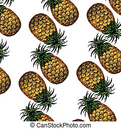 fond blanc, illustration, ananas