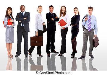 fond blanc, isolé, equipe affaires