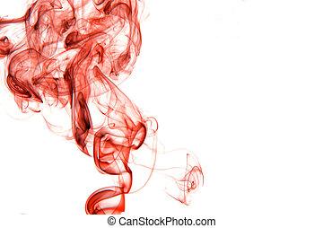 fond blanc, isolé, fumée, rouges