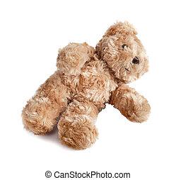 fond blanc, isolé, ours, teddy