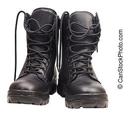 fond, blanc, noir, isolé, bottes
