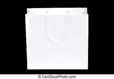fond blanc, papier, noir, sac, achats