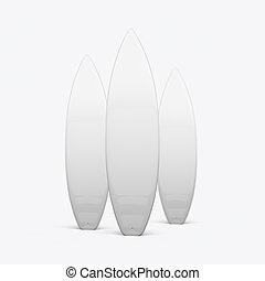fond blanc, planche surf, render, 3d