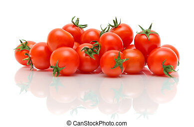 fond blanc, reflet, tomates mûres