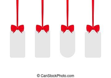fond blanc, rouges, ribbon., illustration., étiquettes, isolé, vecteur, stockage
