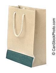 fond blanc, sac papier, recycler