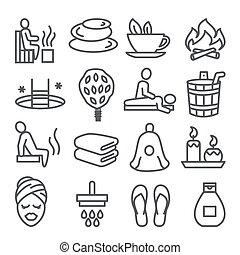 fond, blanc, sauna, ensemble, ligne, icônes