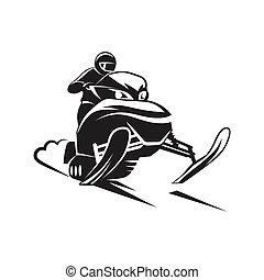 fond blanc, snowmobiling, silhouette