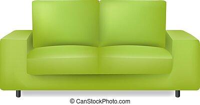 fond blanc, sofa vert, isolé