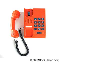 fond blanc, téléphone, bureau, isolé