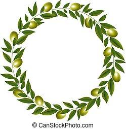 fond blanc, vert, couronne, isolé, olive