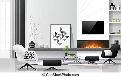 fond, blanche salle, cheminée, meubles, 1, vivant, moderne, noir, thème, intérieur