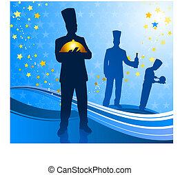 fond, bleu, chef cuistot