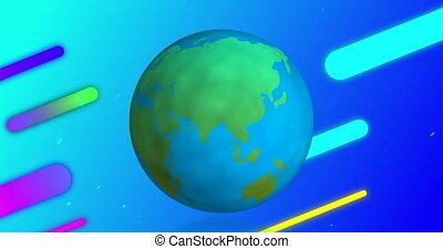 fond, bleu, formes, retourner, en mouvement, diagonalement, globe, coloré, travers, ciel