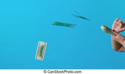 fond, bleu, lent, lancement, argent, mouvement, main, espèces