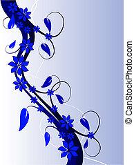fond, bleu, résumé, floral
