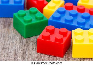 fond, blocs, bois, plastique