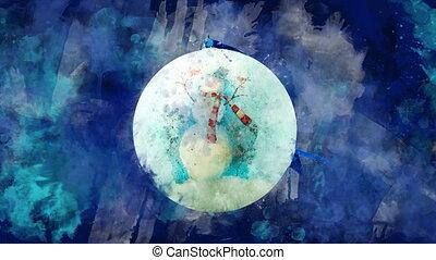fond, blots., balle, coloré, bonhomme de neige, aquarelle, noël