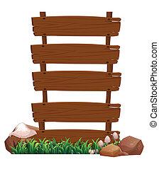 fond, bois, enseigne, illustration, rochers, champignons,...