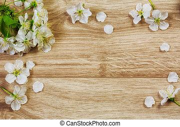 fond, bois, fleurs ressort