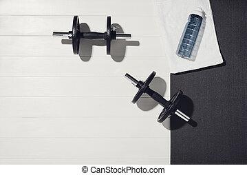 fond, bois, formation, sport, blanc, équipement, concept., maison