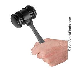fond, bois, isolé, possession main, marteau, blanc mâle