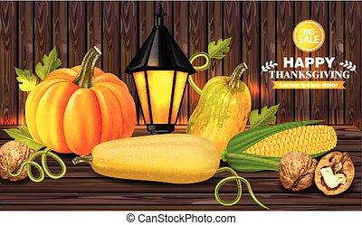 fond, bois, légumes, thanksgiving, automne, réaliste, vector., cartes, frais, 3d, récolte, illustrations.