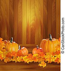 fond, bois, leaves., automne, arrière-plan., potirons, vector.