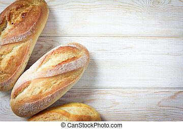 fond, bois, vue, rouleaux, sommet, pain