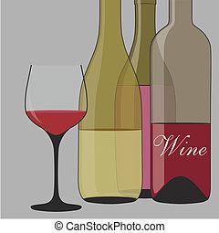 fond, botlle, vin