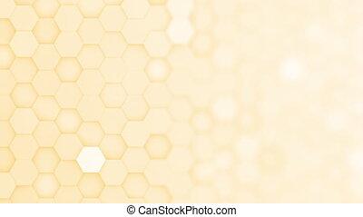 fond, boucle, barbouillage, jaune, mouvement, hexagone