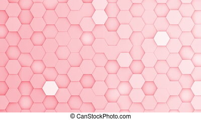 fond, boucle, rouges, mouvement, hexagone