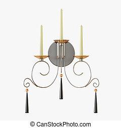fond, bougies, blanc, lampe, moderne, trois