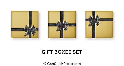 fond, bows., réaliste, rubans, cadeau, présente, doré, noir, blanc, isolé, boîtes
