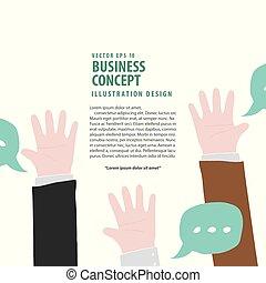 fond, business, concept., répondre, haut, illustration, accord, signification, demander, vector., mains, vote, homme affaires, blanc, bannière, ou