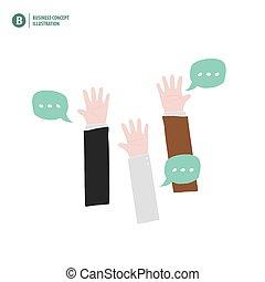 fond, business, concept., répondre, haut, illustration, accord, signification, demander, vector., mains, vote, homme affaires, blanc, ou